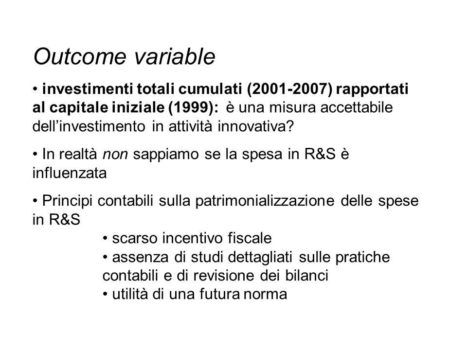 Outcome variable investimenti totali cumulati (2001-2007) rapportati al capitale iniziale (1999): è una misura accettabile dellinvestimento in attività innovativa.