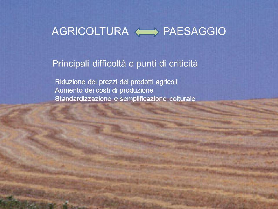 Riduzione dei prezzi dei prodotti agricoli Aumento dei costi di produzione Standardizzazione e semplificazione colturale AGRICOLTURA PAESAGGIO Princip