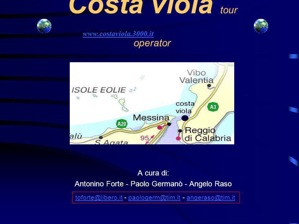 Costa viola tour operator A cura di: Antonino Forte - Paolo Germanò - Angelo Raso www.costaviola.3000.it toforte@libero.ittoforte@libero.it - paologerm@tim.it - angeraso@tim.itpaologerm@tim.itangeraso@tim.it