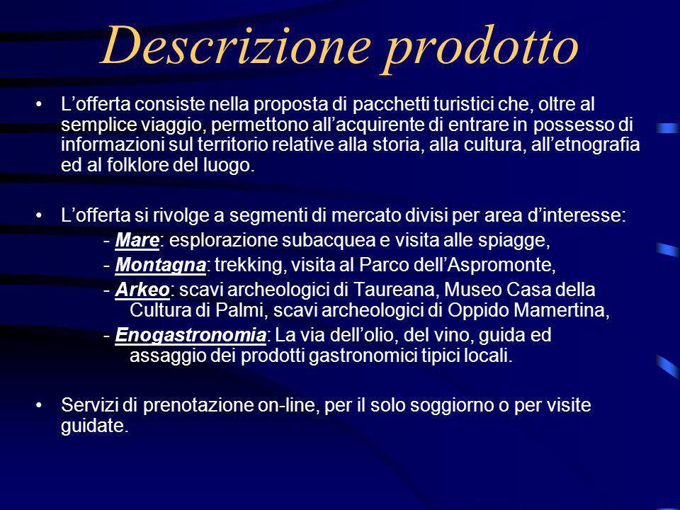 Descrizione prodotto Lofferta consiste nella proposta di pacchetti turistici che, oltre al semplice viaggio, permettono allacquirente di entrare in possesso di informazioni sul territorio relative alla storia, alla cultura, alletnografia ed al folklore del luogo.