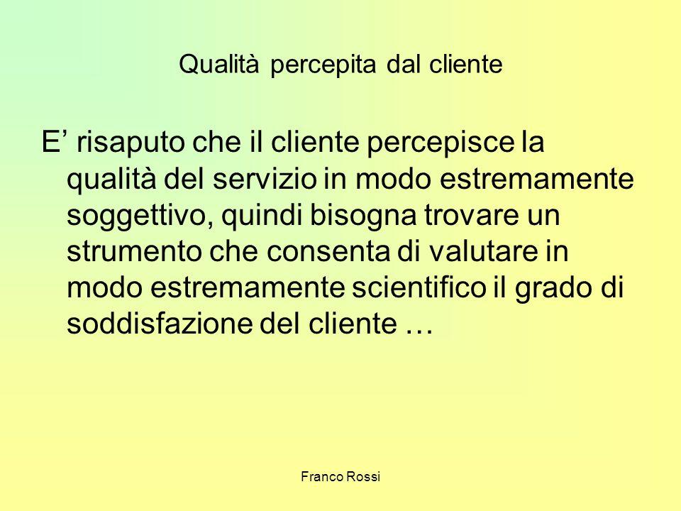 Franco Rossi Qualità percepita dal cliente E risaputo che il cliente percepisce la qualità del servizio in modo estremamente soggettivo, quindi bisogn