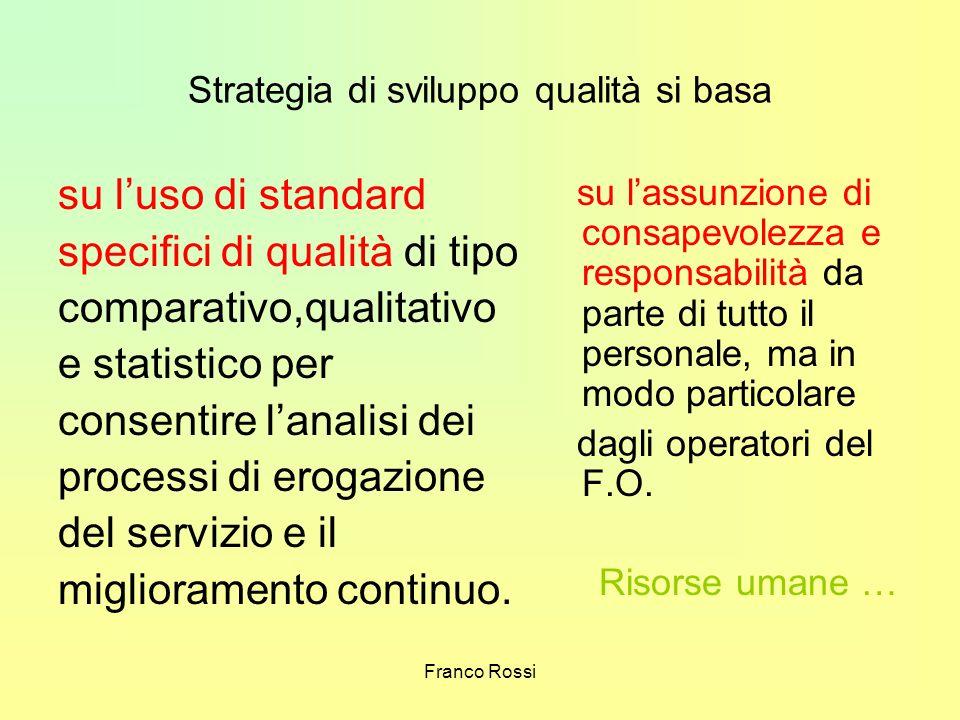 Franco Rossi Strategia di sviluppo qualità si basa su luso di standard specifici di qualità di tipo comparativo,qualitativo e statistico per consentir