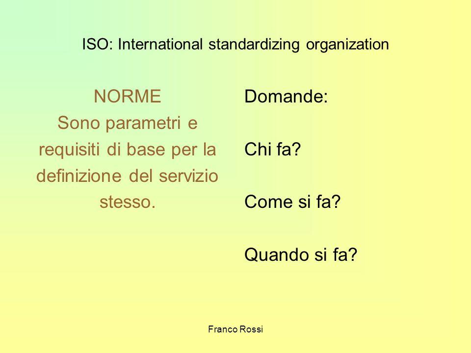 Franco Rossi ISO: International standardizing organization NORME Sono parametri e requisiti di base per la definizione del servizio stesso. Domande: C
