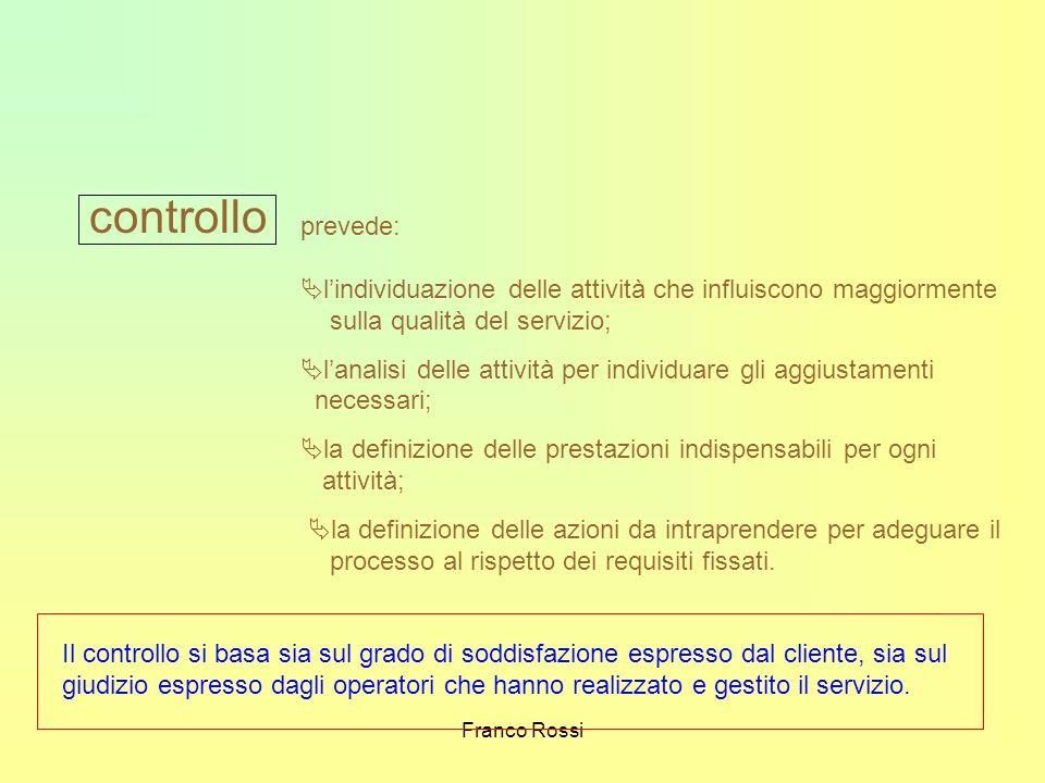 Franco Rossi controllo prevede: lindividuazione delle attività che influiscono maggiormente sulla qualità del servizio; lanalisi delle attività per in
