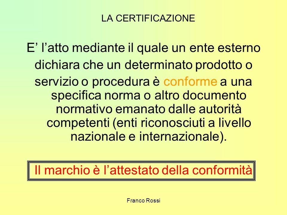Franco Rossi LA CERTIFICAZIONE E latto mediante il quale un ente esterno dichiara che un determinato prodotto o servizio o procedura è conforme a una