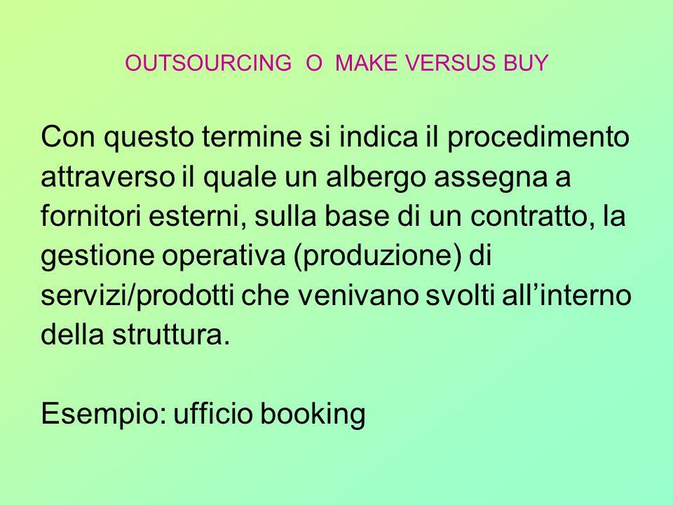 OUTSOURCING O MAKE VERSUS BUY Con questo termine si indica il procedimento attraverso il quale un albergo assegna a fornitori esterni, sulla base di u