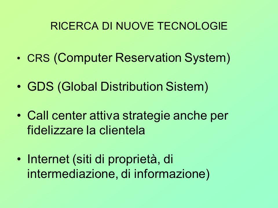 RICERCA DI NUOVE TECNOLOGIE CRS (Computer Reservation System) GDS (Global Distribution Sistem) Call center attiva strategie anche per fidelizzare la c