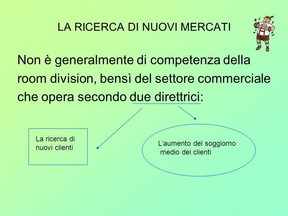 LA RICERCA DI NUOVI MERCATI Non è generalmente di competenza della room division, bensì del settore commerciale che opera secondo due direttrici: La r