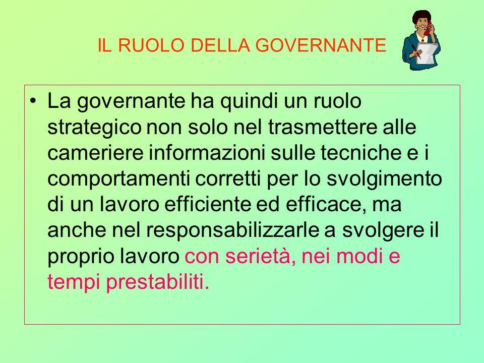 IL RUOLO DELLA GOVERNANTE La governante ha quindi un ruolo strategico non solo nel trasmettere alle cameriere informazioni sulle tecniche e i comporta