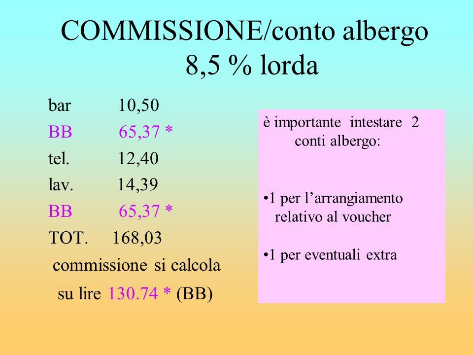 CALCOLO COMMISSIONE solo su servizi prenotati n su importo lordo (comprensivo IVA) ADV n su importo netto (imponibile, cioè importo senza IVA) EMETTE