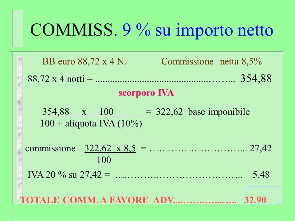 commissione su importo lordo BB euro 60,45 x 3 N. Comm. lorda 8 % 60,45 x 3 notti =...................................................... 181,35 Comm.