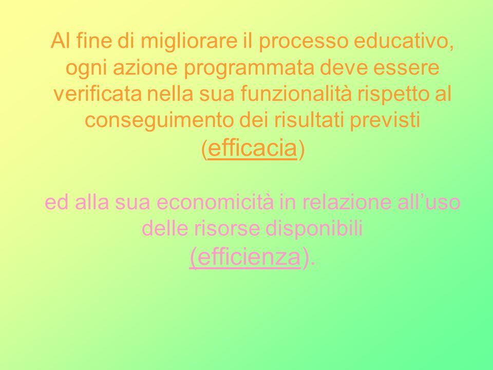Al fine di migliorare il processo educativo, ogni azione programmata deve essere verificata nella sua funzionalità rispetto al conseguimento dei risul