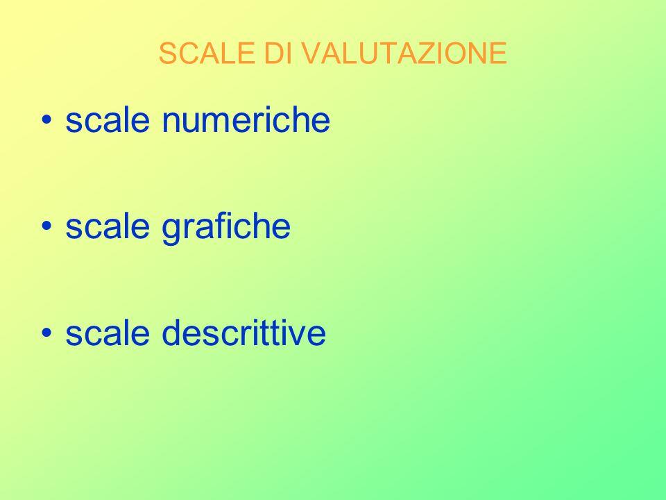 SCALE DI VALUTAZIONE scale numeriche scale grafiche scale descrittive