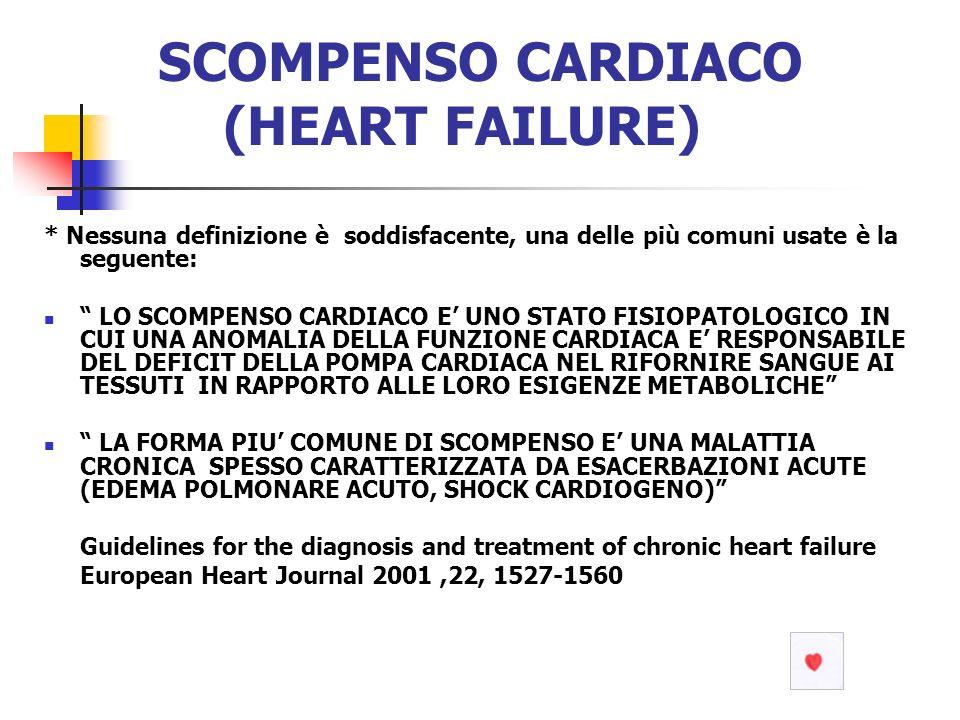 SCOMPENSO CARDIACO (HEART FAILURE) * Nessuna definizione è soddisfacente, una delle più comuni usate è la seguente: LO SCOMPENSO CARDIACO E UNO STATO