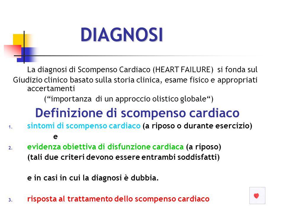 DIAGNOSI La diagnosi di Scompenso Cardiaco (HEART FAILURE) si fonda sul Giudizio clinico basato sulla storia clinica, esame fisico e appropriati accer