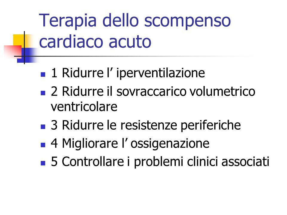 Terapia dello scompenso cardiaco acuto 1 Ridurre l iperventilazione 2 Ridurre il sovraccarico volumetrico ventricolare 3 Ridurre le resistenze perifer