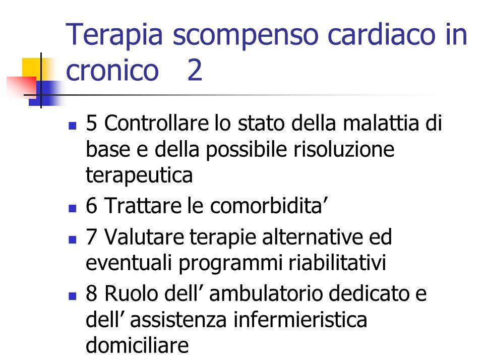 Terapia scompenso cardiaco in cronico 2 5 Controllare lo stato della malattia di base e della possibile risoluzione terapeutica 6 Trattare le comorbid