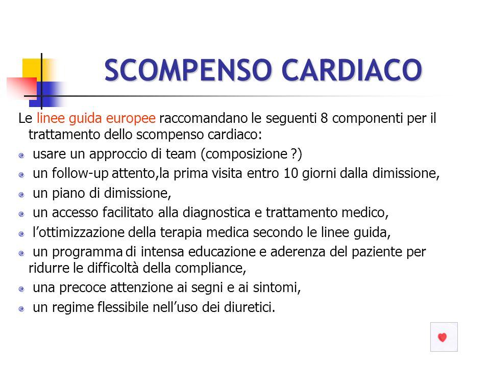 SCOMPENSO CARDIACO Le linee guida europee raccomandano le seguenti 8 componenti per il trattamento dello scompenso cardiaco: usare un approccio di tea