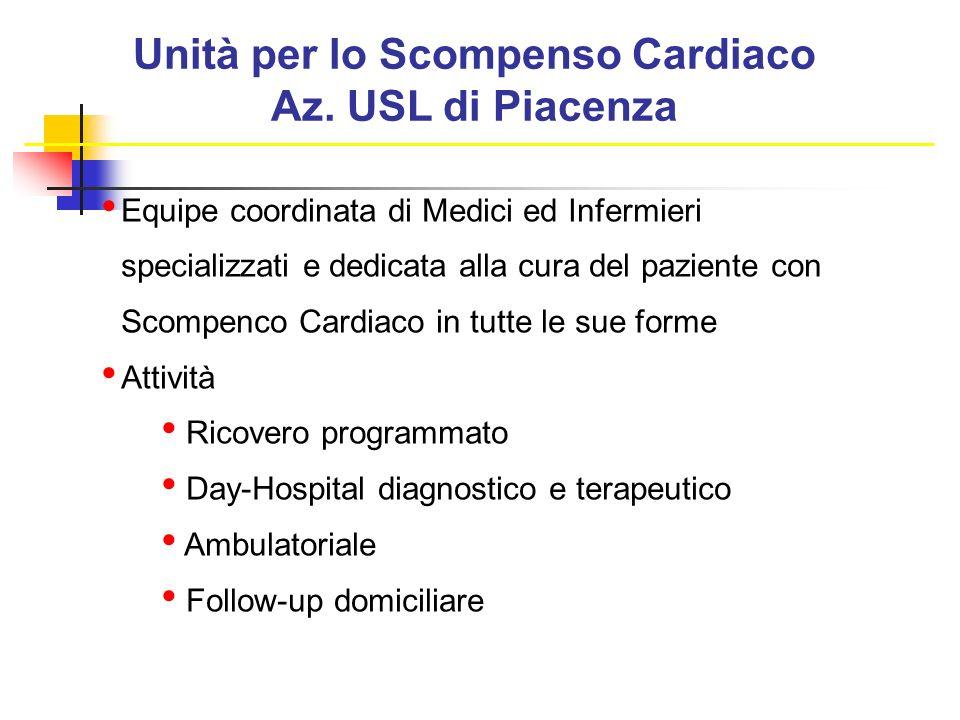 Unità per lo Scompenso Cardiaco Az. USL di Piacenza Equipe coordinata di Medici ed Infermieri specializzati e dedicata alla cura del paziente con Scom