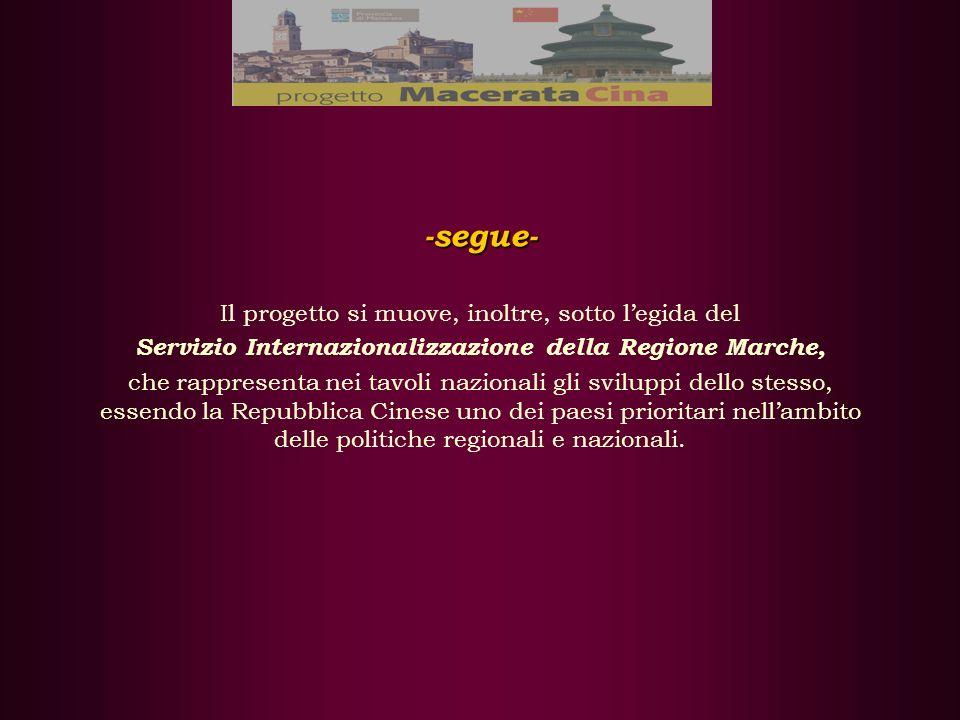 -segue- Il progetto si muove, inoltre, sotto legida del Servizio Internazionalizzazione della Regione Marche, che rappresenta nei tavoli nazionali gli sviluppi dello stesso, essendo la Repubblica Cinese uno dei paesi prioritari nellambito delle politiche regionali e nazionali.