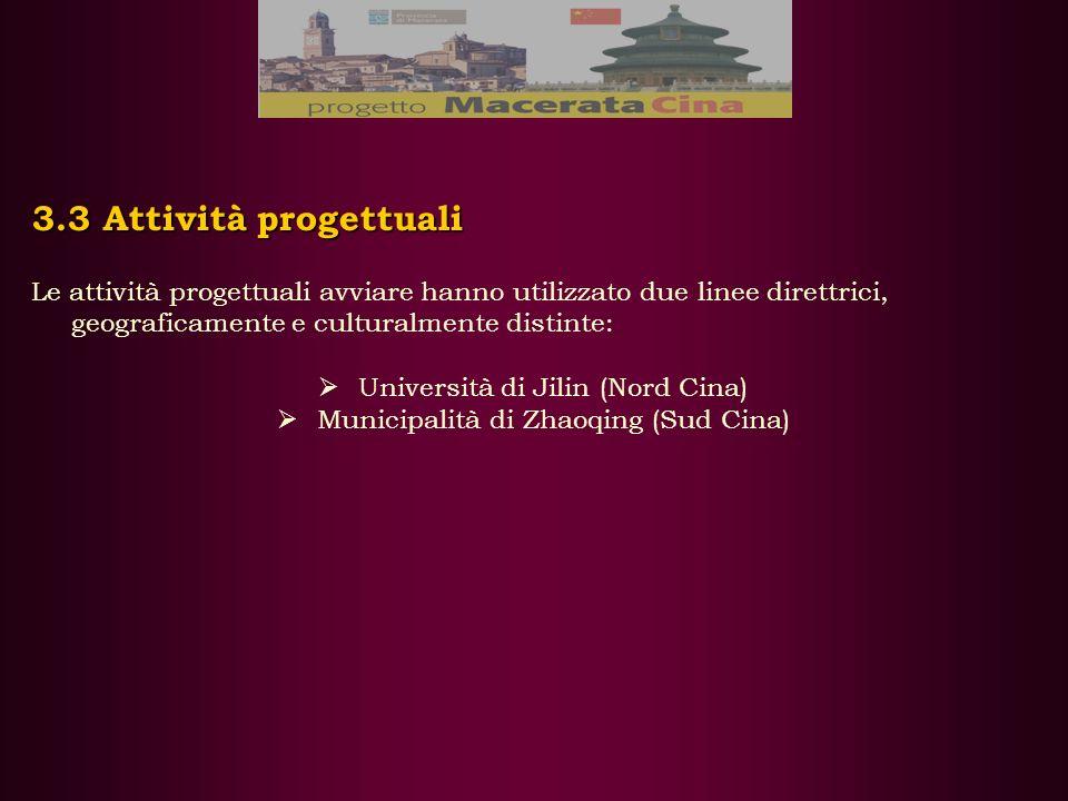 3.3 Attività progettuali Le attività progettuali avviare hanno utilizzato due linee direttrici, geograficamente e culturalmente distinte: Università di Jilin (Nord Cina) Municipalità di Zhaoqing (Sud Cina)