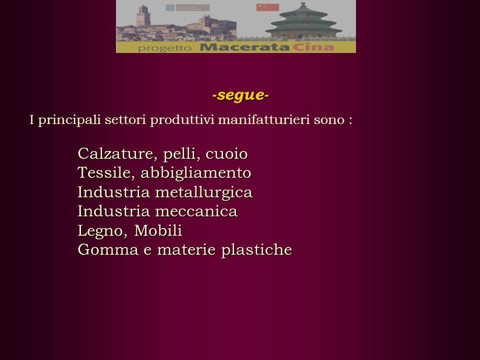 -segue- I principali settori produttivi manifatturieri sono : Calzature, pelli, cuoio Tessile, abbigliamento Industria metallurgica Industria meccanica Legno, Mobili Gomma e materie plastiche