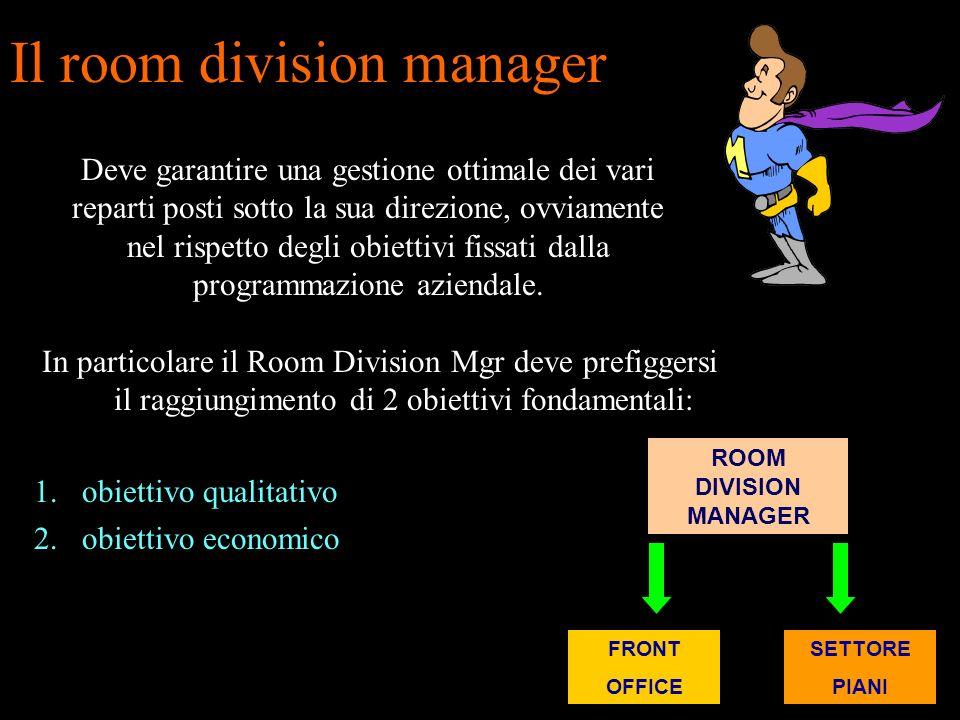 Il room division manager si posiziona gerarchicamente alle dirette dipendenze del direttore generale, se consideriamo unazienda di medie o grandi dime