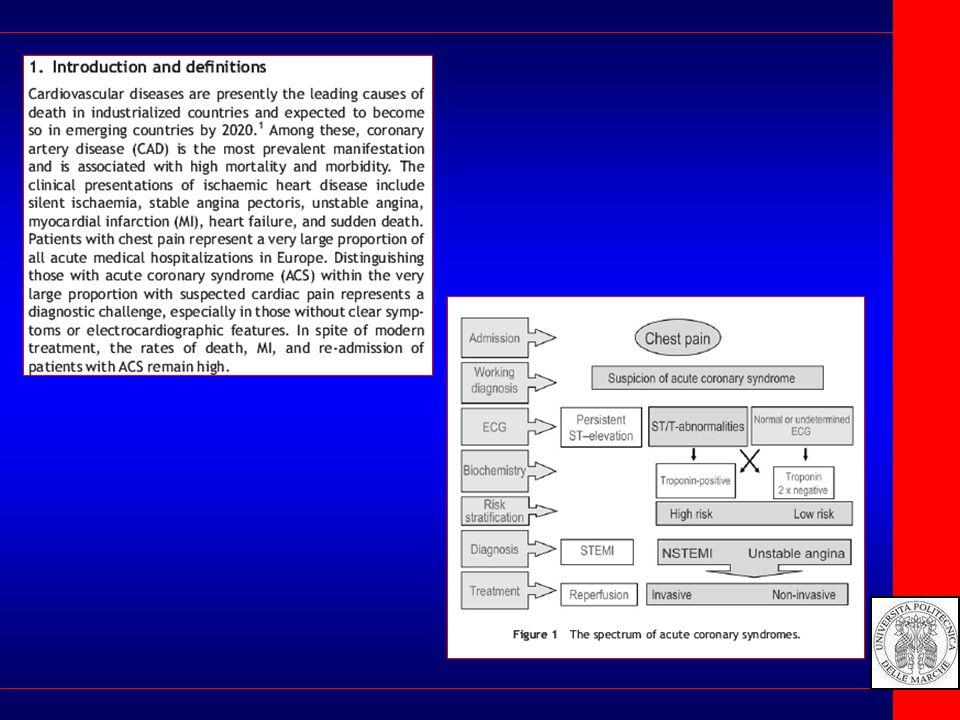 Non ST segment elevation Come comportarsi 1) Verificare la correttezza della diagnosi 2)Tenere conto del quadro clinico 3) Approntare la terapia medica ottimale per la fase acuta 4) Se la diagnosi è IMA : coronarografia 5)Rivalutazione del management e terapeutica ad ogni step 6) Valutazione del rischio in cronico e controllo degli specifici fattori 7) Follow up : meglio sui sintomi che sugli esami strumentali