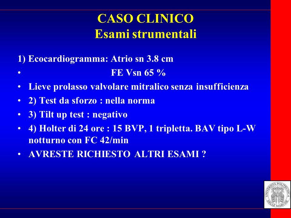 CASO CLINICO Esami strumentali 1) Ecocardiogramma: Atrio sn 3.8 cm FE Vsn 65 % Lieve prolasso valvolare mitralico senza insufficienza 2) Test da sforz