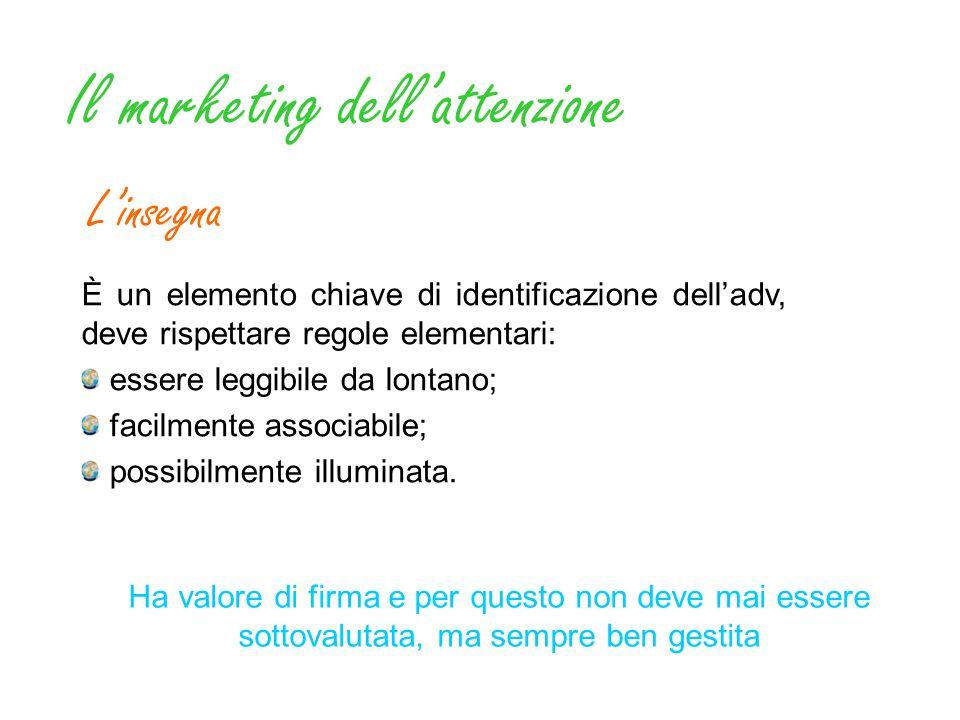 Il marketing dellattenzione Linsegna È un elemento chiave di identificazione delladv, deve rispettare regole elementari: essere leggibile da lontano;