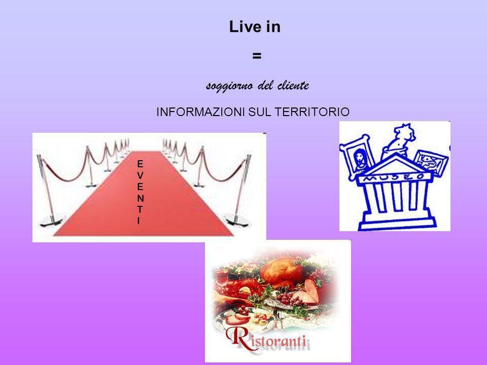 Live in = soggiorno del cliente INFORMAZIONI SUL TERRITORIO EVENTIEVENTI