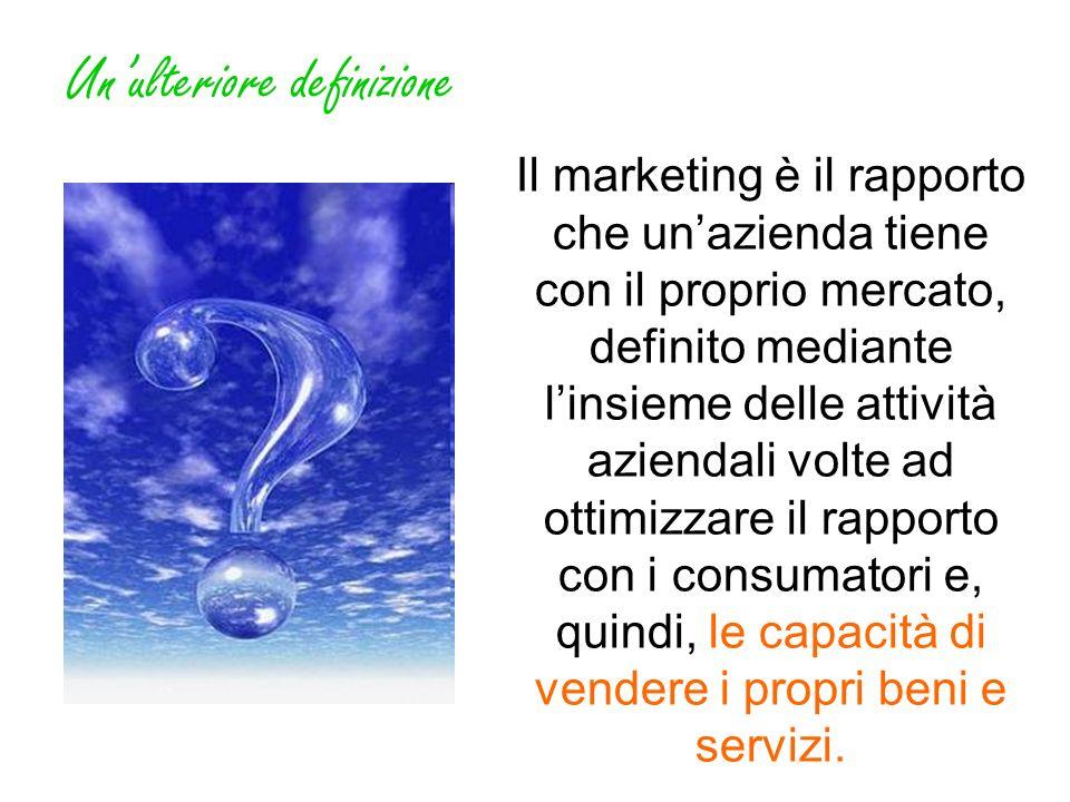 Unulteriore definizione Il marketing è il rapporto che unazienda tiene con il proprio mercato, definito mediante linsieme delle attività aziendali vol
