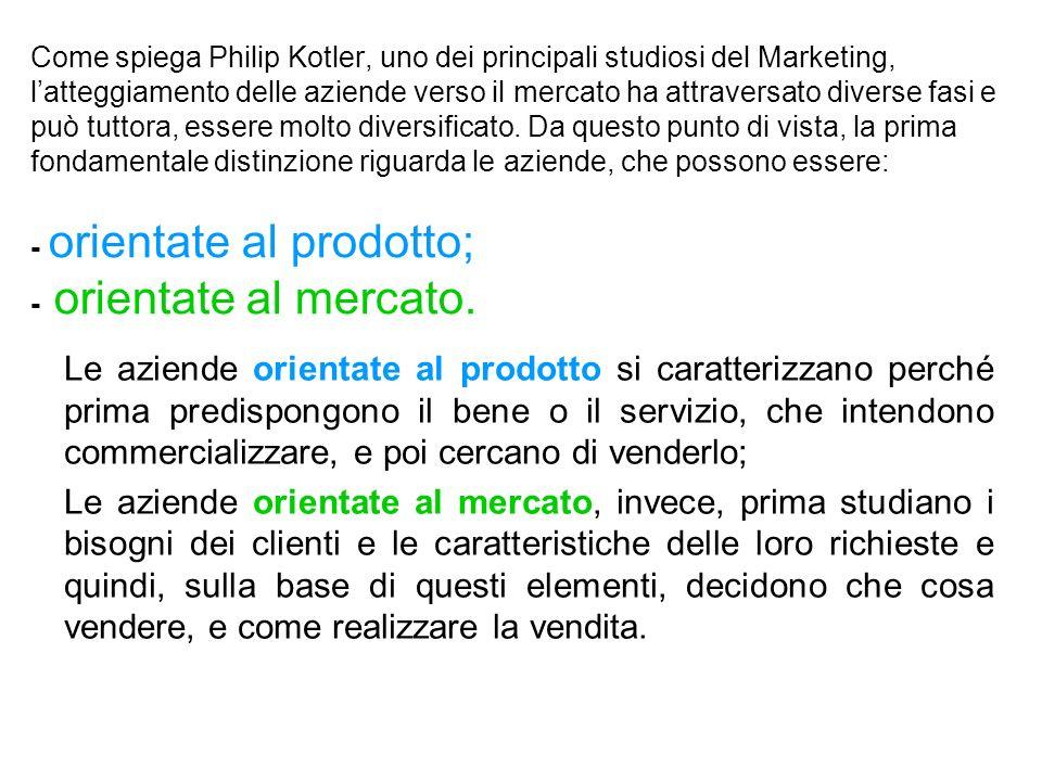 Come spiega Philip Kotler, uno dei principali studiosi del Marketing, latteggiamento delle aziende verso il mercato ha attraversato diverse fasi e può