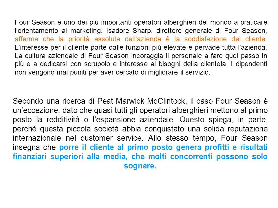 Secondo una ricerca di Peat Marwick McClintock, il caso Four Season è uneccezione, dato che quasi tutti gli operatori alberghieri mettono al primo pos