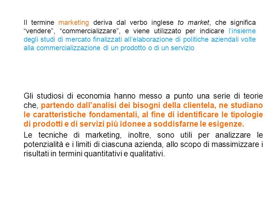 Il termine marketing deriva dal verbo inglese to market, che significa vendere, commercializzare, e viene utilizzato per indicare linsieme degli studi