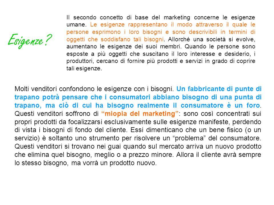 Il secondo concetto di base del marketing concerne le esigenze umane. Le esigenze rappresentano il modo attraverso il quale le persone esprimono i lor