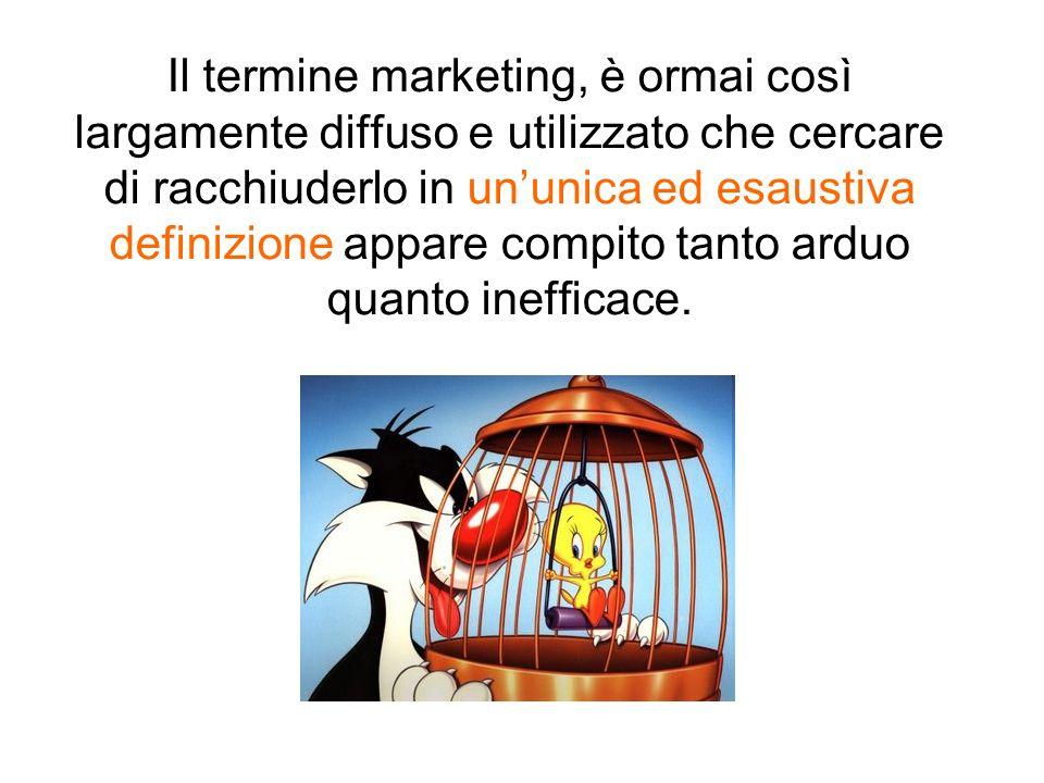 Il termine marketing, è ormai così largamente diffuso e utilizzato che cercare di racchiuderlo in ununica ed esaustiva definizione appare compito tant