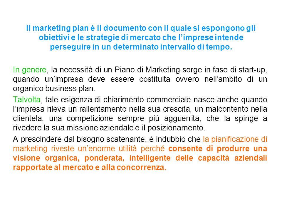 Il marketing plan è il documento con il quale si espongono gli obiettivi e le strategie di mercato che limprese intende perseguire in un determinato i