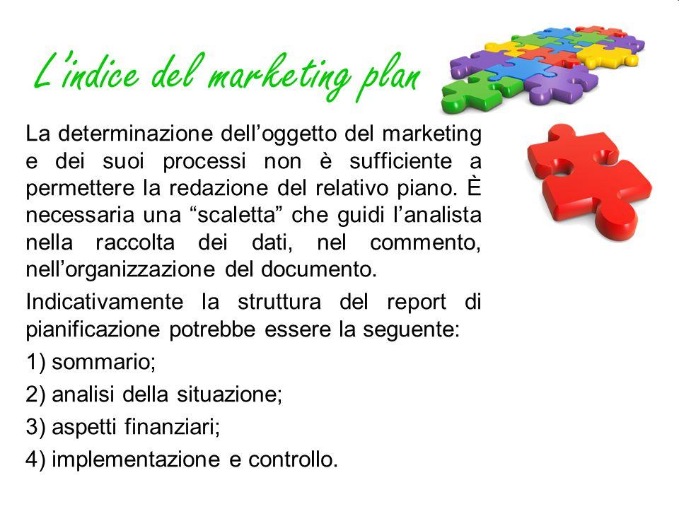 Lindice del marketing plan La determinazione delloggetto del marketing e dei suoi processi non è sufficiente a permettere la redazione del relativo pi