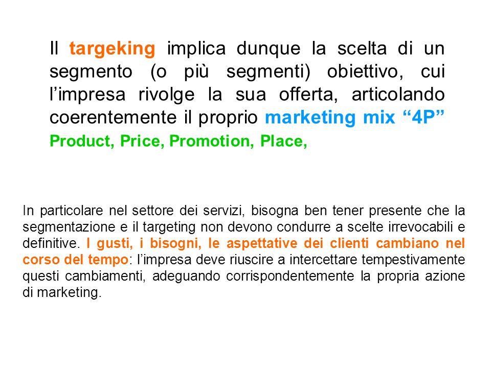 Il targeking implica dunque la scelta di un segmento (o più segmenti) obiettivo, cui limpresa rivolge la sua offerta, articolando coerentemente il pro