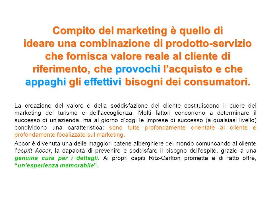 Compito del marketing è quello di ideare una combinazione di prodotto-servizio che fornisca valore reale al cliente di riferimento, che provochi lacqu