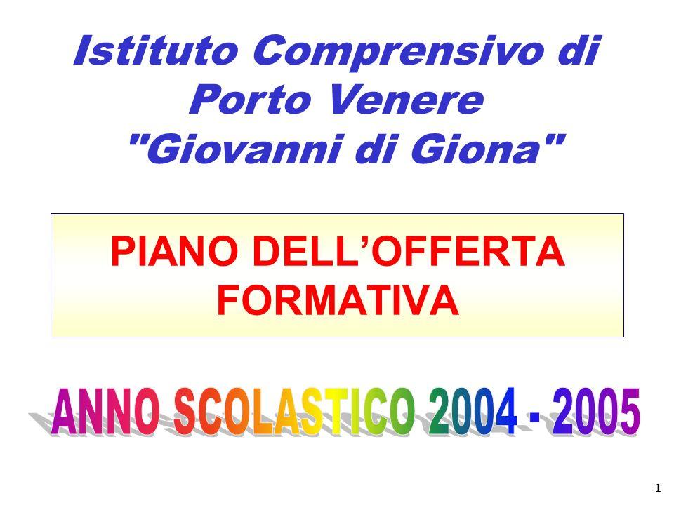 PIANO DELLOFFERTA FORMATIVA Istituto Comprensivo di Porto Venere Giovanni di Giona 1