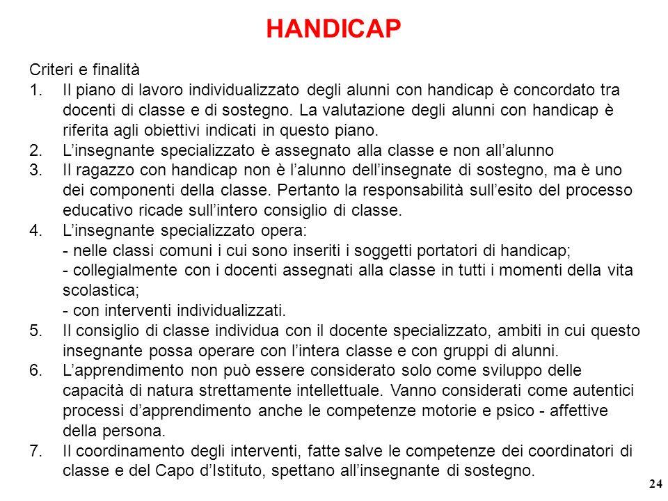 HANDICAP 24 Criteri e finalità 1.Il piano di lavoro individualizzato degli alunni con handicap è concordato tra docenti di classe e di sostegno.
