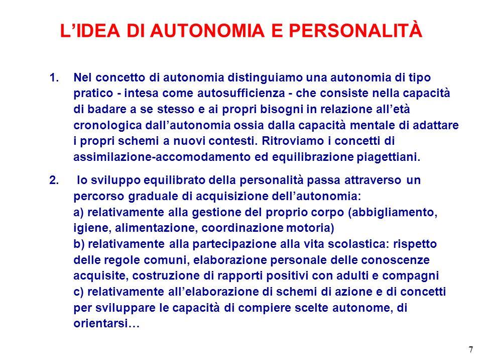 1.Nel concetto di autonomia distinguiamo una autonomia di tipo pratico - intesa come autosufficienza - che consiste nella capacità di badare a se stesso e ai propri bisogni in relazione alletà cronologica dallautonomia ossia dalla capacità mentale di adattare i propri schemi a nuovi contesti.