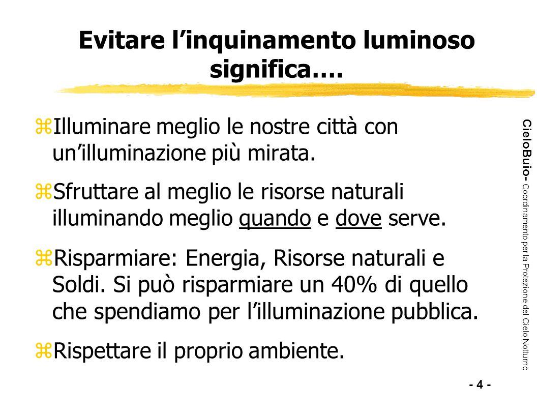 CieloBuio- Coordinamento per la Protezione del Cielo Notturno Evitare linquinamento luminoso significa…. zIlluminare meglio le nostre città con unillu
