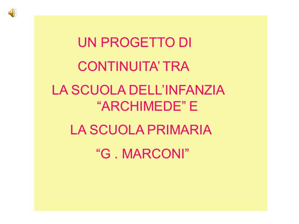 UN PROGETTO DI CONTINUITA TRA LA SCUOLA DELLINFANZIA ARCHIMEDE E LA SCUOLA PRIMARIA G. MARCONI