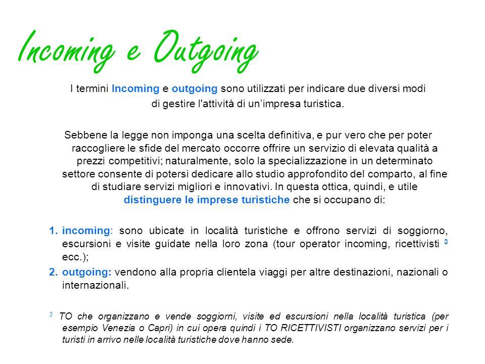 Incoming e Outgoing I termini Incoming e outgoing sono utilizzati per indicare due diversi modi di gestire l'attività di unimpresa turistica. Sebbene
