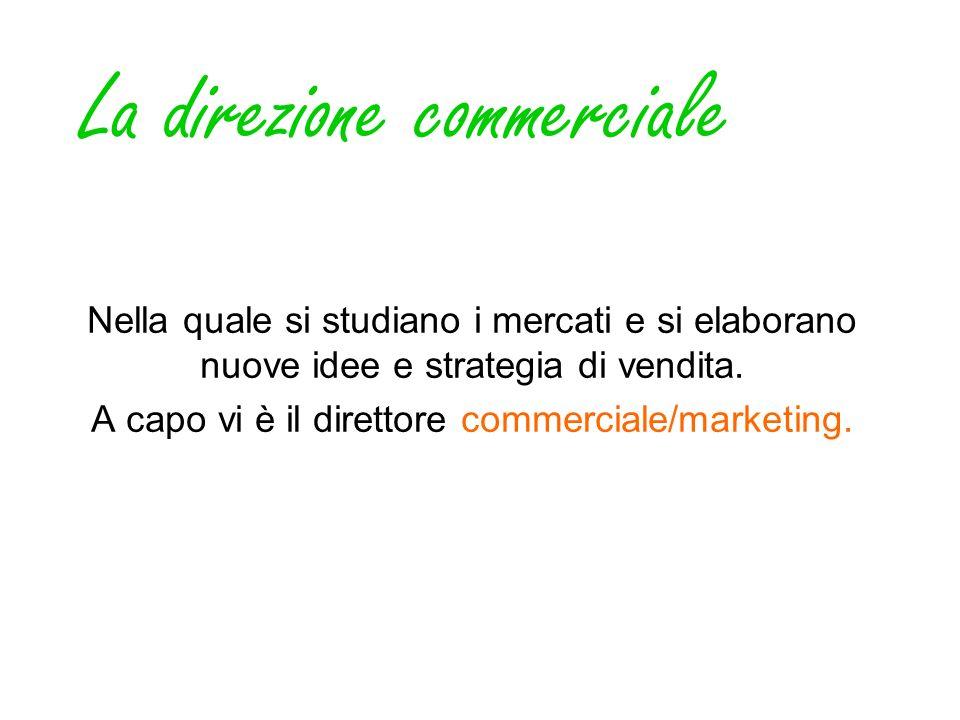 La direzione commerciale Nella quale si studiano i mercati e si elaborano nuove idee e strategia di vendita. A capo vi è il direttore commerciale/mark