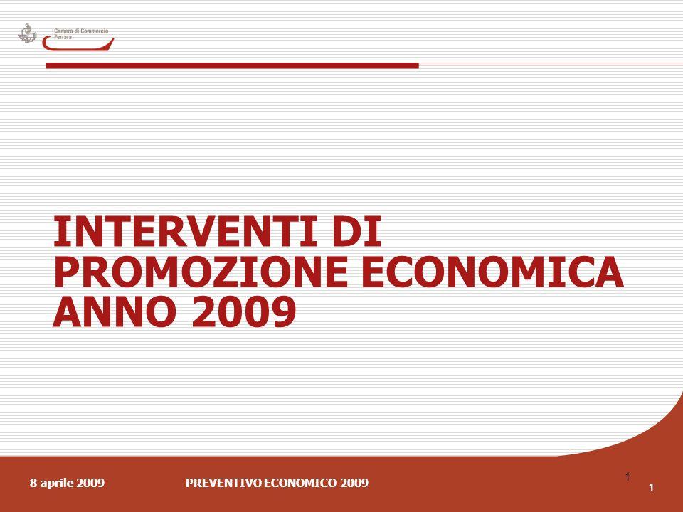 8 aprile 2009PREVENTIVO ECONOMICO 2009 1 1 INTERVENTI DI PROMOZIONE ECONOMICA ANNO 2009