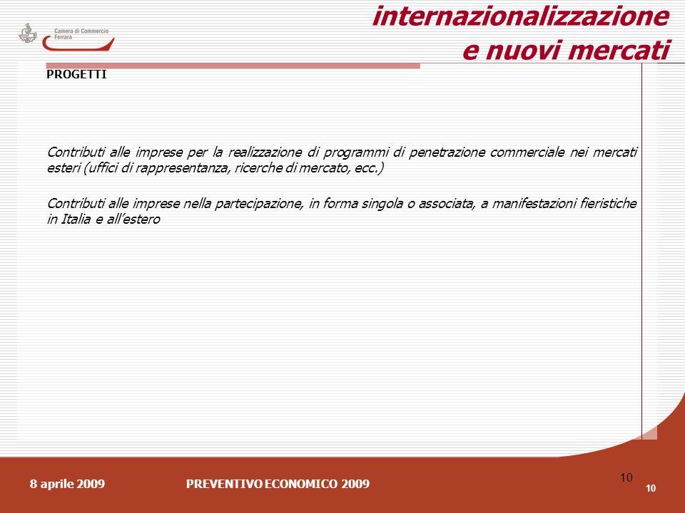 8 aprile 2009PREVENTIVO ECONOMICO 2009 10 internazionalizzazione e nuovi mercati PROGETTI Contributi alle imprese per la realizzazione di programmi di penetrazione commerciale nei mercati esteri (uffici di rappresentanza, ricerche di mercato, ecc.) Contributi alle imprese nella partecipazione, in forma singola o associata, a manifestazioni fieristiche in Italia e allestero